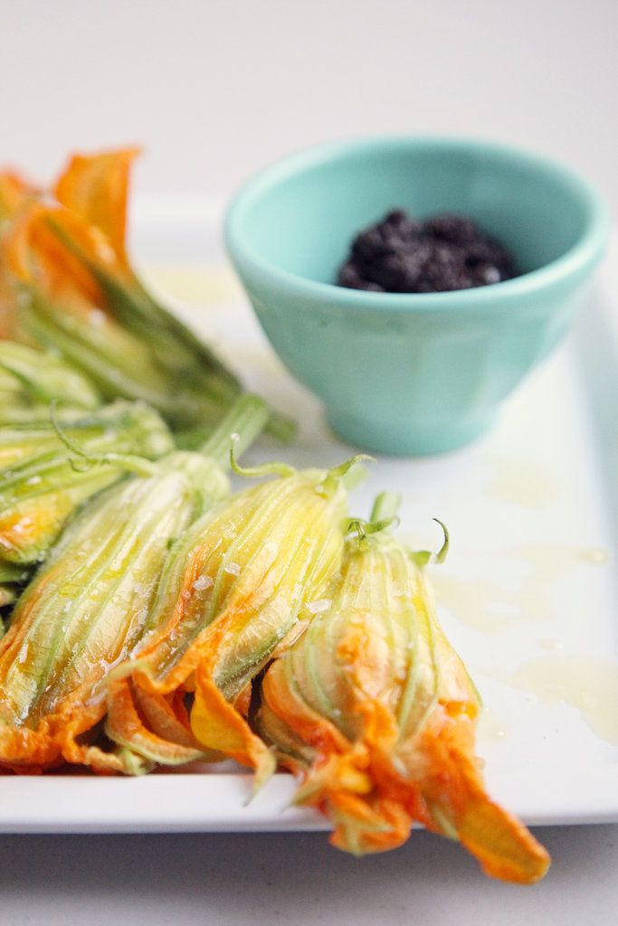 Burrata-Stuffed Squash Blossoms With Tapenade