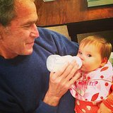 Former president George W. Bush fed his granddaughter, Mila. Source: Instagram user jennabhager