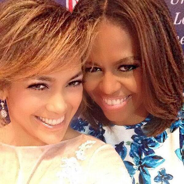 Jennifer Lopez and First Lady Michelle Obama huddled for their smiley selfie. The two linked up at the Unity Luncheon in NYC in July.  Source: Twitter user JLo