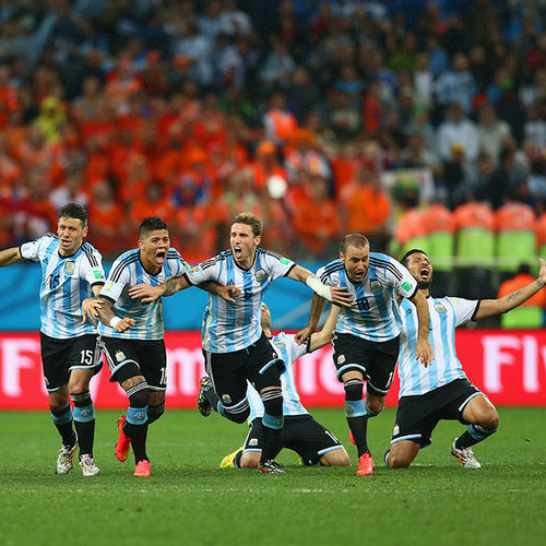Argentina Team Celebrates After Beating the Netherlands