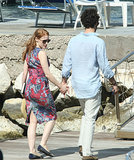 Jessica and Gian Luca held hands on Sunday.