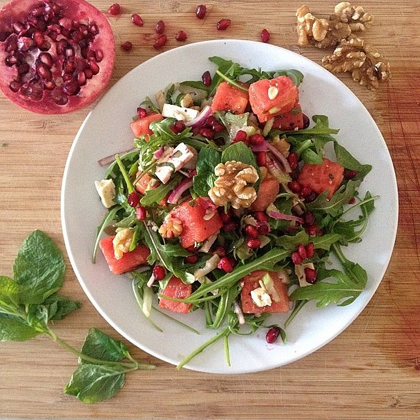 Watermelon is so much more than a picnic food; this vitamin-rich juicy fruit is a sweet pairing to peppery arugula. Source: Instagram user bahchee
