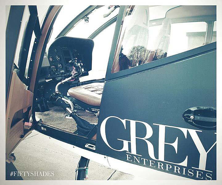 Here's a glimpse at Christian Grey's helicopter.