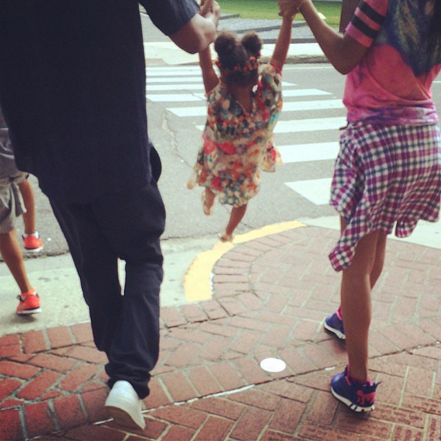 Blue got a ride in her parents arms.  Source: Instagram user beyonce