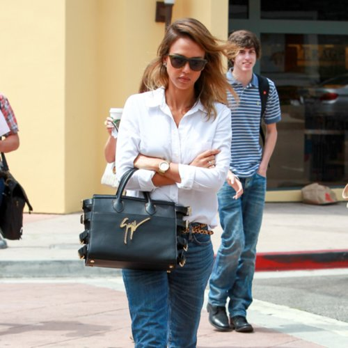 Jessica Alba's Denim and Button-Down Street Style
