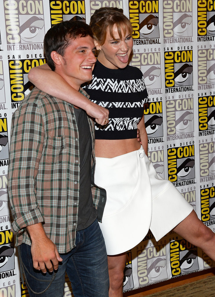 Jennifer Lawrence playfully had her arm around costar Josh Hutcherson at the Catching Fire press conference in 2013.