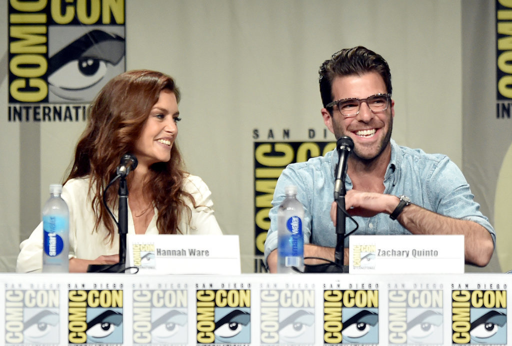 Zachary Quinto and Hannah Ware were all smiles at the Hitman: Agent 47 panel on Friday.