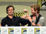 Mark Ruffalo and Chris Hemsworth cracked jokes at the Marvel panel on Saturday.