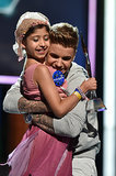 Justin Bieber hugged Make a Wish recipient Grace Kesablak at the Young Hollywood Awards on Sunday in LA.