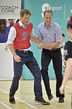 Harry and William got competitive while playing soccer together.