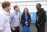 Kate, Will, and Harry met with Usain Bolt.