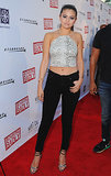 Selena Gomez bared her midriff at the LA premiere of her new movie, Behaving Badly, on Tuesday.