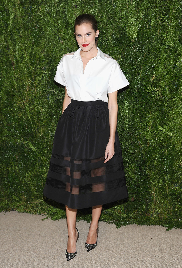 Allison sported one of our favorite looks at the CFDA and Vogue 2013 Fashion Fund celebration. We love the sheer panels that played up a couple of totally straightforward, movable pieces.