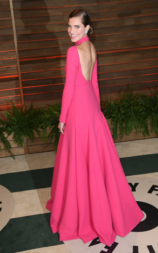 At the 2014 Vanity Fair Oscar Party, Allison wowed in a hot-pink, floor-sweeping gown with an open back.