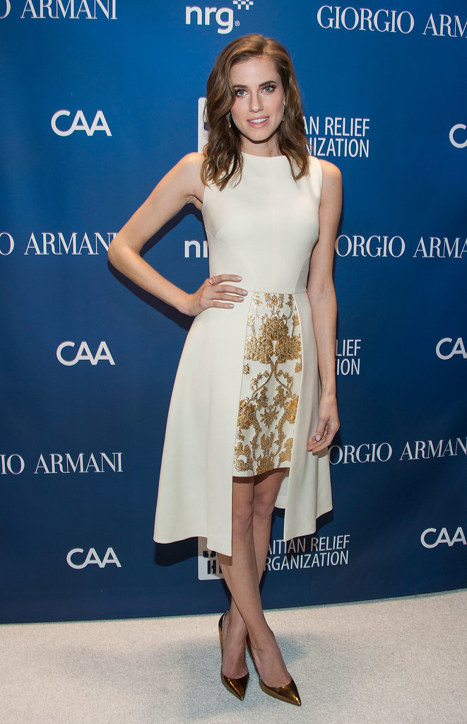 We love how Allison played up the gilded appeal of her dress with a pair of metallic heels.