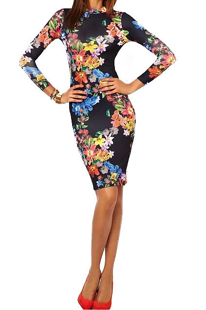 Romwe Backless Floral Print Dress
