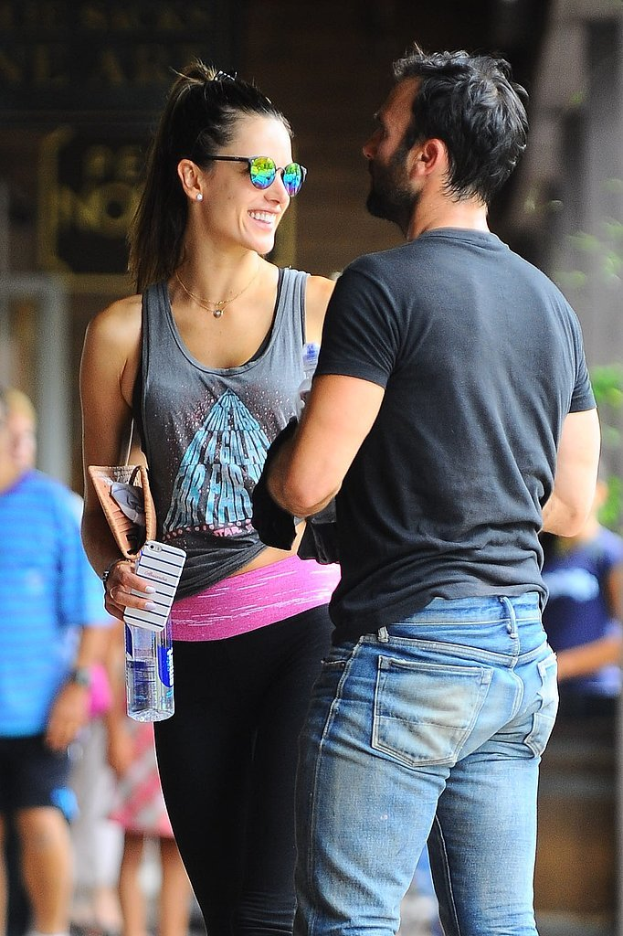 Alessandra Ambrosio had a big smile next to her husband Jamie Mazur after scoring some cardio at SoulCycle