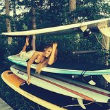 She wasn't kidding about that whole surfboard thing.
