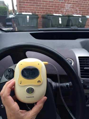 """""""In the car after a networking breakfast ."""" Source: Places I Have Pumped"""