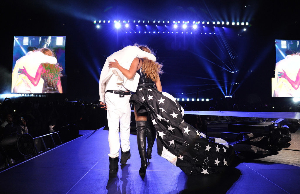 """Source: Getty / Kevin Mazur Aug. 2: Another Page Six report alleged that Beyoncé and Jay Z were spending most of their time apart on tour. A source said, """"They're not just staying in different hotel rooms, but they have booked separate hotels, and they arrive separately to each show."""" Late that night, Beyoncé dropped a surprise remix to her song """"Flawless"""" featuring Nicki Minaj. In the track, Beyoncé addressed the post-Met Gala elevator fight, rapping, """"We escalate, up in this b*tch like elevators. Of course, sometimes sh*t go down when there's a billion dollars on an elevator."""" Aug. 5: An up-close photo of Beyoncé's left hand was posted to her blog, clearly showing that her """"IV"""" tattoo — which she got in lieu of an engagement ring — had been removed. Source: Beyoncé Knowles Aug. 6: The couple closed out the North American leg of their On the Run tour with a final stop in San Francisco. Us Weekly reported that during the show, their lack of chemistry on stage was """"palpable,"""" with both parties appearing """"very tired."""" Another concertgoer added, """"It felt very frosty. Normally they kiss and seem affectionate, but for this show there was just a quick peck at the end."""" Aug. 7: Beyoncé shared an adorable photo of Jay Z and Blue about to board a plane out of San Francisco. She captioned the sweet snap with a telling message: """"Thank you San Fran! Your city is beautiful. It was the perfect place to complete the best tour of my life! Thank you to all the fans that supported our show. God bless."""" Source: Instagram user beyonce"""