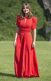 A retro-inspired red maxi dress made Jenna stand out at the premiere of the new series of Doctor Who in Cardiff.