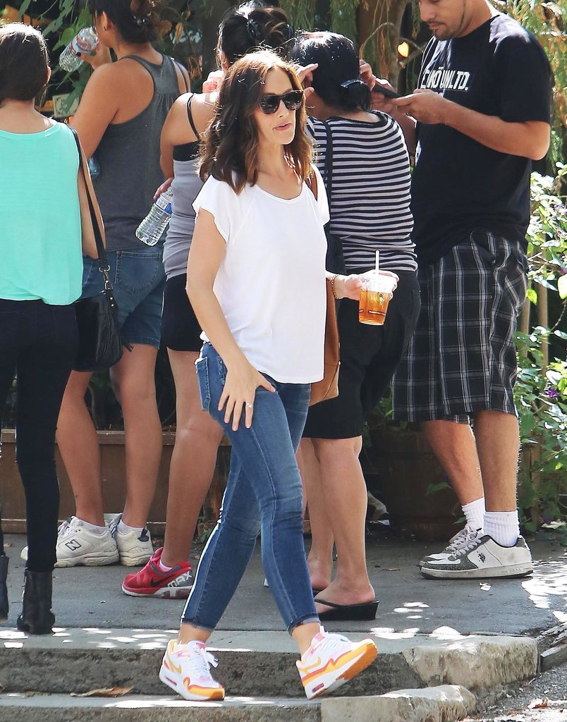 Minka Kelly grabbed an iced beverage at The Trails Cafe while out and about in LA on Friday.