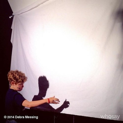 Roman Zelman perfected his shadow puppet skills while on set with his mom, Debra Messing. Source: Instagram user therealdebramessing