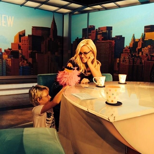 Jenny McCarthy was visited by the world's cutest puppeteer, her son Evan Asher, on the set of The View. Source: Instagram user jennyannmccarthy