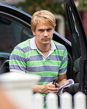 James Franco sported blond hair on the set of Michael in Freeport, NY, on Thursday.