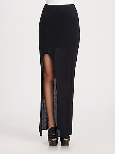 Helmut Lang Jersey Slit Skirt