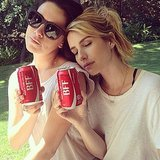 Emma Roberts relaxed with a can of Coke.  Source: Instagram user emmaroberts