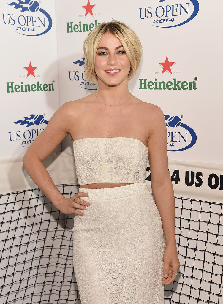 Julianne Hough wore white to a party to kick off the US Open in NYC on Thursday.