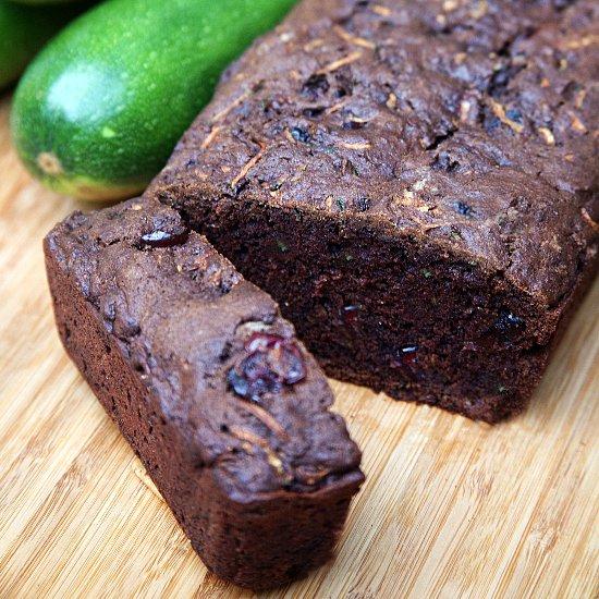 Vegan Chocolate Cranberry Zucchini Bread Recipe