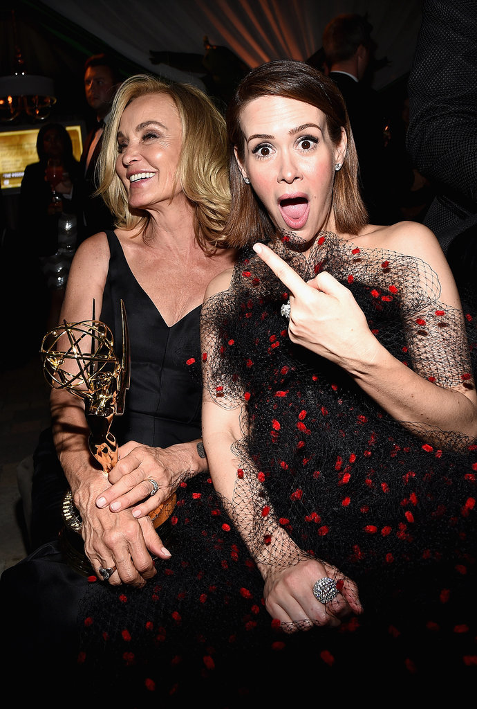 Sarah Paulson was happy about costar Jessica Lange's Emmy win at the Fox/FX bash.