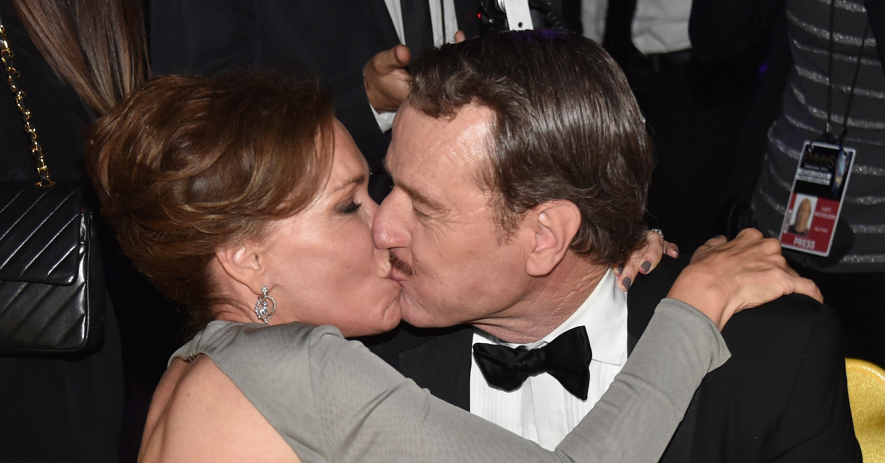 Bryan Cranston planted a kiss on his wife, Robin Dearden, during the ...: popsugar.com/photo-gallery/35568800/bryan-cranston-planted-kiss-his...