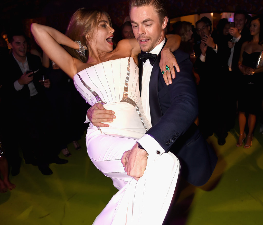 Sofia Vergara got a lift from Derek Hough at the HBO party.