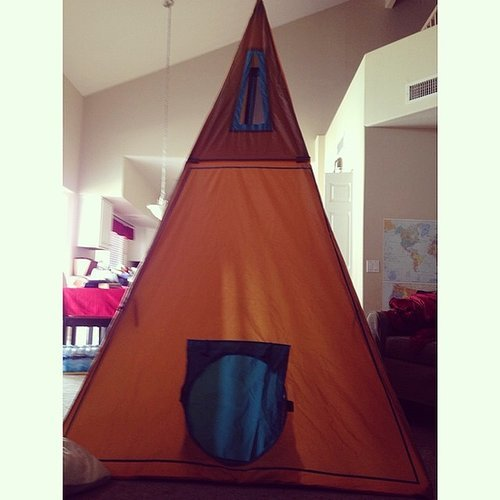 Erecting an 8-Foot Teepee in Your House