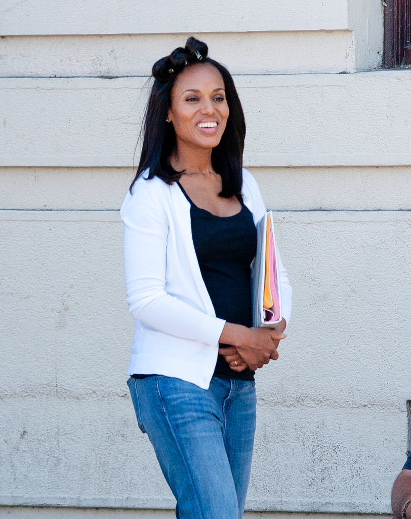 Kerry Washington's smile was front and center on the set of a project in LA on Thursday.