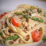 Tagliatelle With Pancetta, Tomatoes, and Asparagus