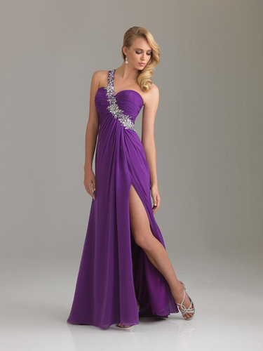 Purple One Shoulder Long Chiffon Evening Dress