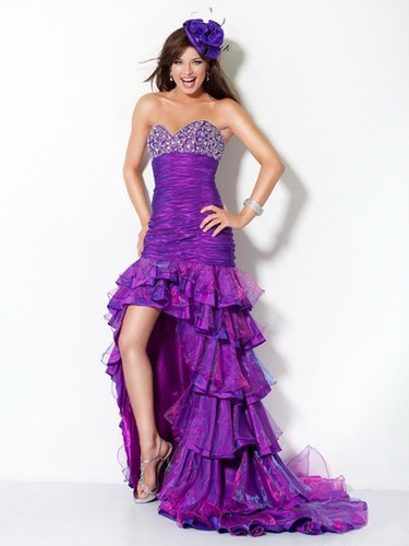 Purple Strapless High Low Evening Dress