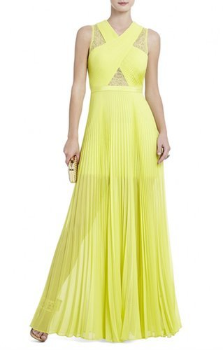$227.00 BCBG CAIA CHIFFON-PLEATED GOWN YELLOW
