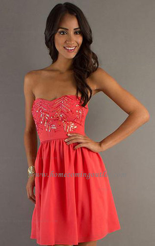 Chiffon A-line Strapless Natural Waist Sleeveless Watermelon Homecoming Dress