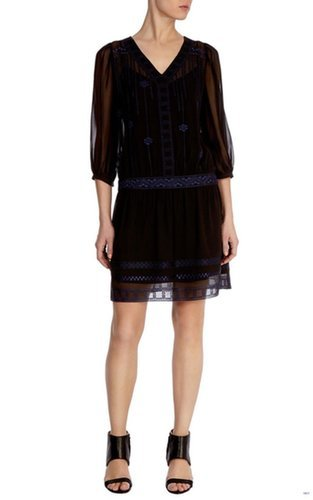 £75.00 KAREN MILLEN SILK AZTEC EMBRODIERED DRESS