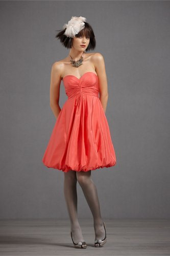 Cotton Strapless Knee-Length Red Short Prom Dress
