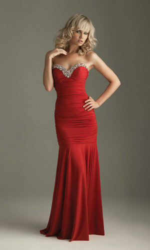 Long Ruching Strapless Mermsaid Red Prom Dress