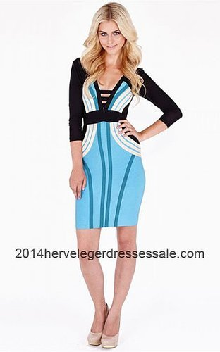 2014 Blue & Black Color-Blocked Herve Leger Bandage Dresses [Blue&Black Herve Leger Short Sleeve Dresses] - $168.00 : 2014 Herve