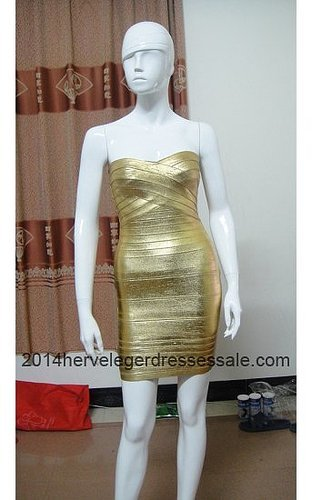 Gold Herve Leger Strapless Bandage Dresses Cheap Online