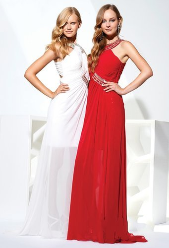 Ruched Beading Chiffon White & Red Prom Dress