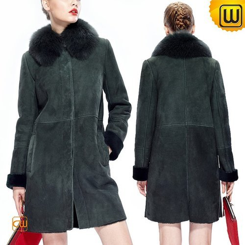 Women Long Shearling Leather Coat CW644392